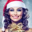 Christmas Woman with Gift box. — Stock Photo
