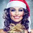Christmas Woman with Gift — Stockfoto