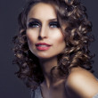Fashion Beauty Portrait. Healthy Hair. Hairstyle. Holiday Makeup — Stock Photo