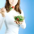 Dieting Concept. Happy Young Woman Eating Vegetable Salad — Stock Photo