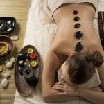Spa Woman. Hot Stones Massage — Stock Photo