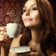 Beautiful Woman Drinking Coffee — Stock Photo #10747378