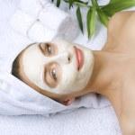 Beautiful Woman Getting Spa. Clay Facial Mask. Dayspa — Stock Photo