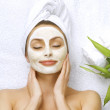 Spa Woman Applying Facial Cleansing Mask — Stock Photo #10747613