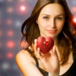 Beautiful Girl with Valentine Heart — Stock Photo
