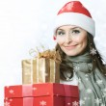 Santa Woman with Christmas Gift Box — Stock Photo