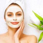 Spa Woman applying Facial clay Mask. Beauty Treatments — Stock Photo
