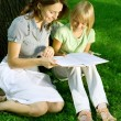 Mother And Daughter Reading The Book In A Park. Education Concep — Stok fotoğraf