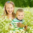 Stock Photo: Happy Family Sister and Brother outdoors