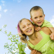outdoor.family kids.sister e il fratello felice — Foto Stock