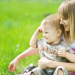 Happy Kids. Sister And brother Outdoor — Stock Photo #10748043
