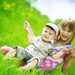 Happy Kids. Sister And brother Outdoor — Foto Stock
