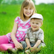 Foto de Stock  : Happy Kids. Sister And Brother Outdoor