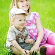 Happy Kids. Sister And brother Outdoor — Foto de Stock
