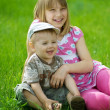 Happy Kids. Sister And Brother Outdoor — Zdjęcie stockowe