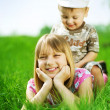 Happy Kids. Sister And brother Outdoor — Stock Photo #10748065