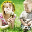 Happy Kids. Sister And brother Outdoor — Stock Photo #10748069