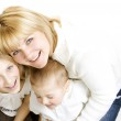 Happy Family. Mother With Kids Over White — Stock Photo