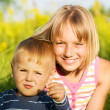 Happy Sister And Brother Outdoor — Stock Photo