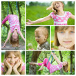 Happy Kids Having Fun Outdoor Collage - Stock Photo