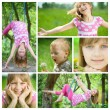 Happy Kids Having Fun Outdoor Collage — Stock Photo