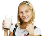 Girl Drinking Milk — Stock Photo