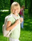 Happy Schoolgirl Outdoor. Back To School Concept — Stock Photo