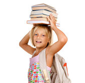 Education Concept. Happy School Girl With Books — Stock Photo