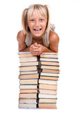 Back To School Concept. School Girl Above The Heap Of Books — Stock Photo