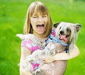 Funny Girl And Dog — Stock Photo