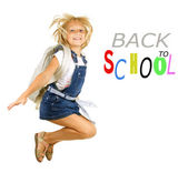 Back To School. Happy Pupil Jumping. Isolated On White — Stock Photo