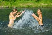 Happy Little Girls Having Fun On A Beach — Stock Photo