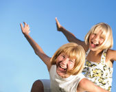 Happy Sisters Outdoor — Stock Photo