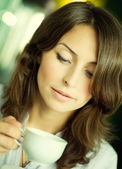 Beautiful Young Woman Drinking Coffee — Stock Photo