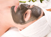 Sea Mud Mask On The Woman's Face. Spa — Foto de Stock