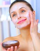 Beautiful Woman Applying Natural Homemade Facial Mask — Stock Photo