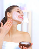 Beautiful Woman Applying Natural Homemade Facial Mask — Stock Photo