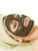 Sea Mud Mask On The Woman's Face. Spa — Stock Photo
