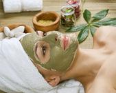 спа грязевая маска для лица. dayspa — Стоковое фото