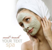 Spa Mud Mask on the woman's face. Space for text — Foto de Stock