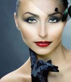 Retro Woman Portrait. Woman's Face — Stock Photo