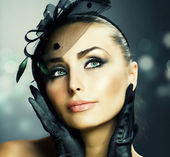 Young Woman portrait. Vintage Make-up — Stock Photo