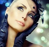 Young Woman portrait. Vintage Make-up — Stock Photo