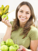 Happy Young Woman with apples.Dieting.Healthy eating concept — Stock Photo