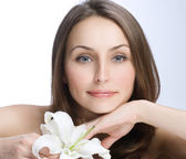 Beautiful Woman's Face. Clear fresh skin — Stock Photo