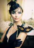 Retro Holidays Celebration. Masquerade. Vintage Styled — Stock Photo