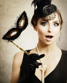 Surprised Retro Woman. Masquerade — Stock Photo