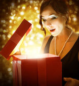 Christmas or New Year Gift. Surprised Woman — Stock Photo