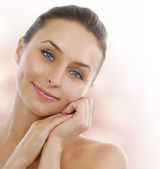 Beautiful Healthy Woman touching her skin. Middle Aged — Stock Photo