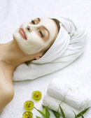 Dayspa. Clay Facial Mask. Beautiful Woman Getting Spa — Stock Photo
